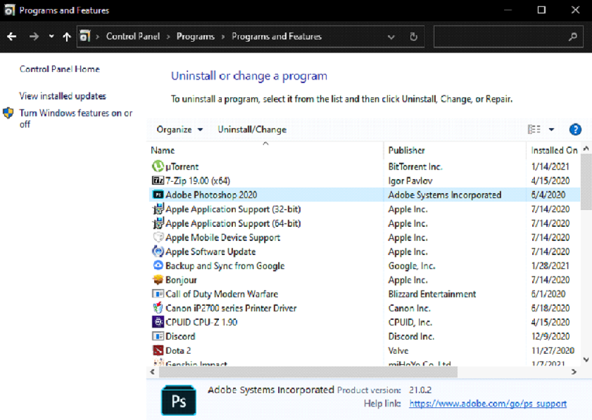Uninstalled Unwanted Programs