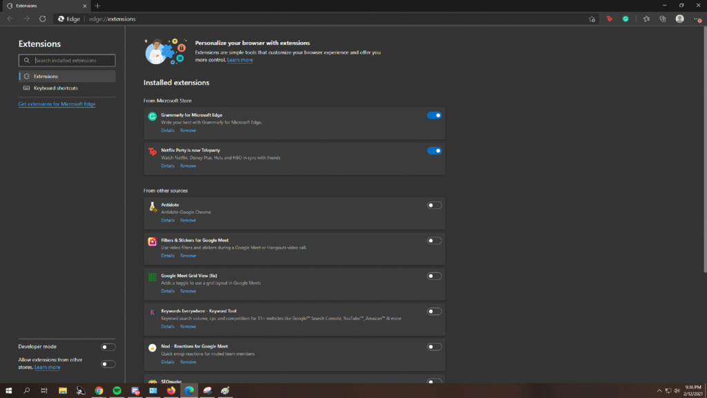 Remove Unwanted Extensions for Microsoft Edge
