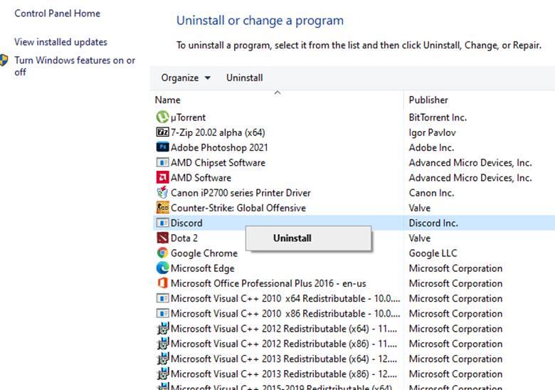 Uninstall Discord app