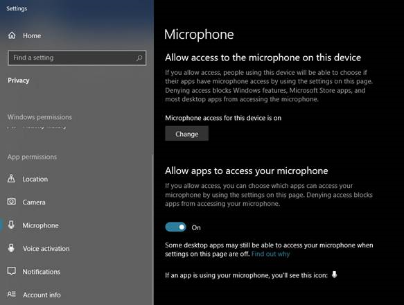 """Enable """"Allow apps to access your microphone"""""""